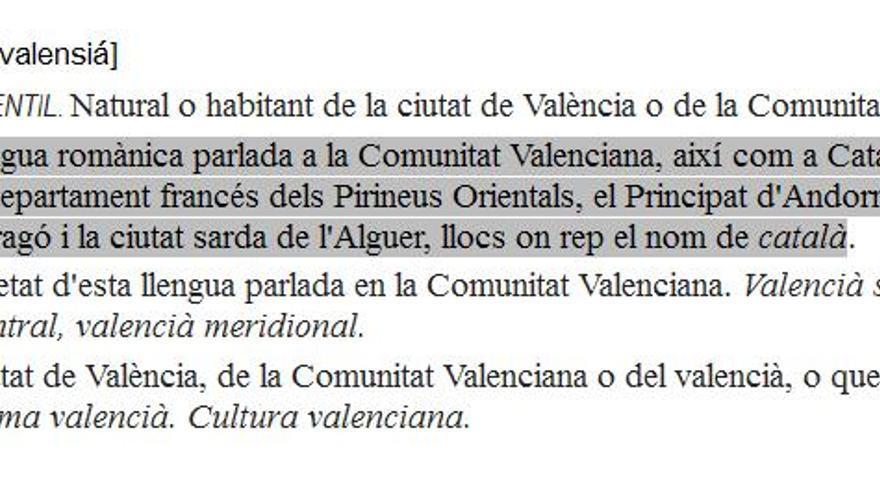 """Definición de """"valenciano"""" recogida en el diccionario de la AVL"""