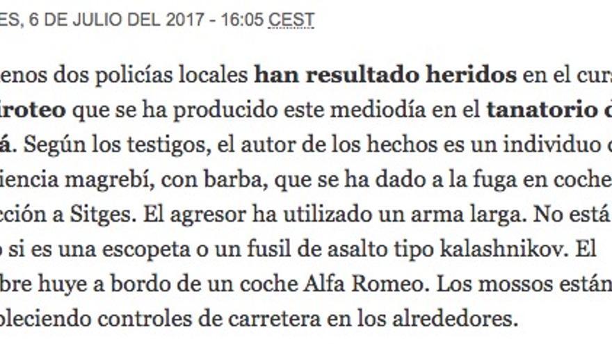 Noticia del 'Periódico de Catalunya' sobre el ataque de Gavà.