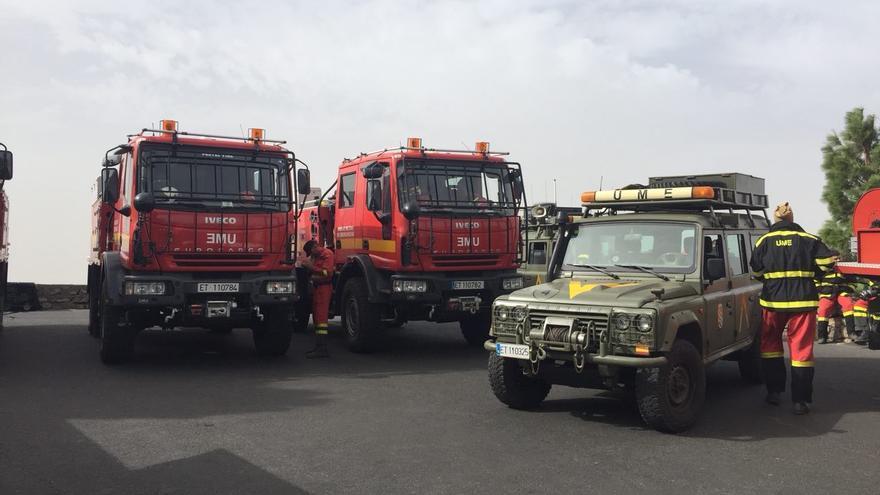 Efectivos de la UME en el incendio de Gran Canaria