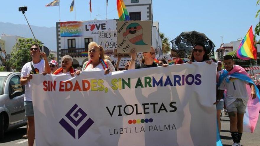 Cabeza de la marcha este sábado en Tazacorte.