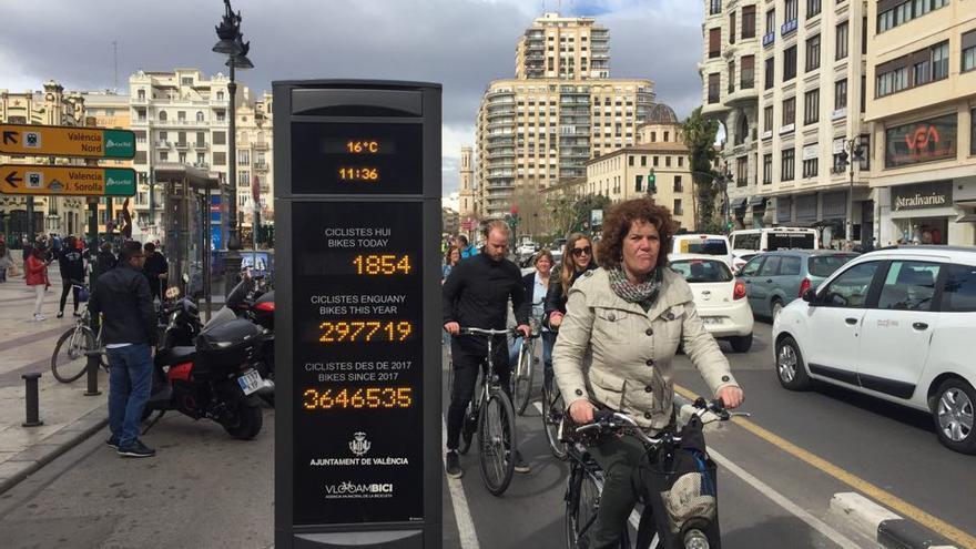 Usuarios del anillo ciclista en el tramo de la calle de Xàtiva