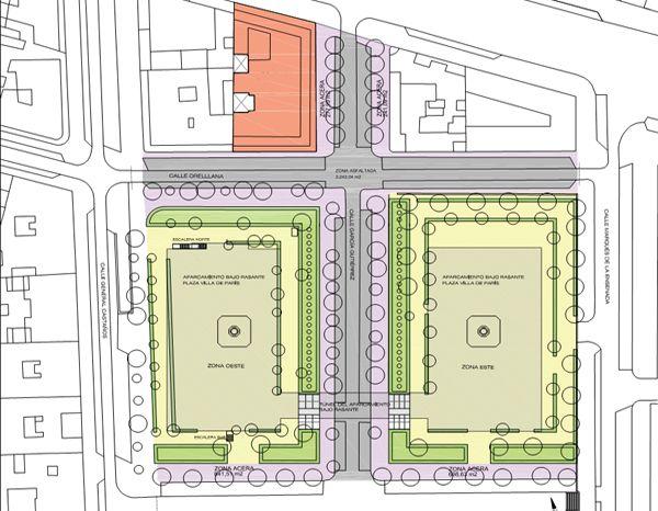 Distribución actual de la Plaza de la Villa de París   Imagen: Ministerio de Justicia