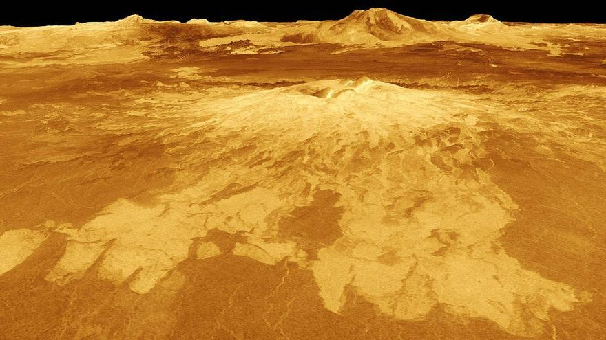 Reproducción digital de la superficie de Venus que muestra el volcán Sapas Mons