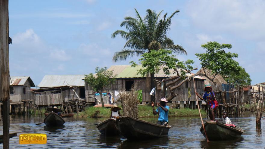 La ciudad de Ganvié (Benín), erigida sobre el lago Nokoué.