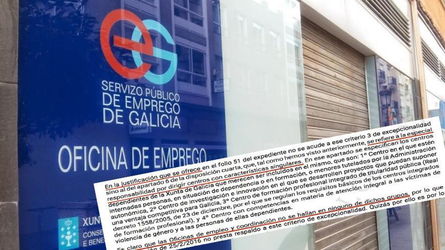 Oficina de empleo de la Xunta y fragmento de la sentencia