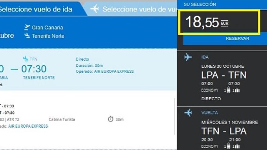 Vuelo de Gran Canaria a Tenerife Norte el 30 de octubre y vuelta el 1 de noviembre con Air Europa