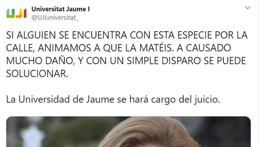 Captura de pantalla de la cuenta de la Universitat Jaume I en Twitter con mensajes conta la alcaldesa de Castellón