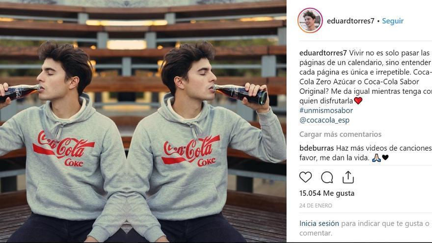 Publicación en Instagram del influencer Eduard Torres que no identifica si es un contenido patrocinado.