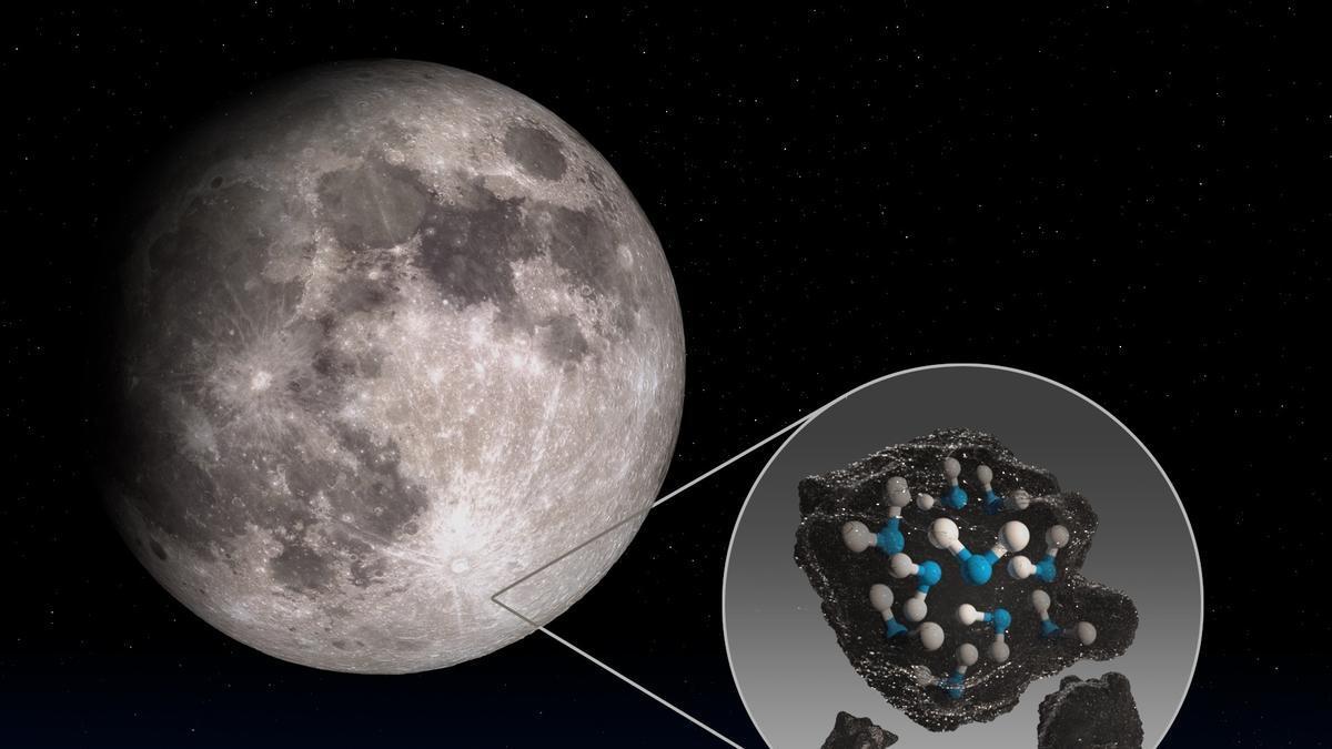 Detectada por primera vez agua en la cara iluminada de la Luna y potenciales depósitos en la zona de sombra