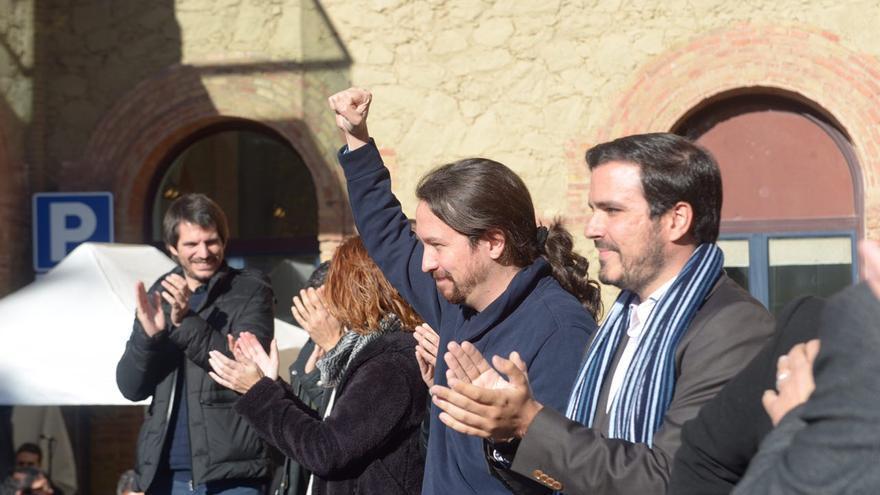 Pablo Iglesias y Alberto Garzón en el acto central de Catalunya En Comú Podem