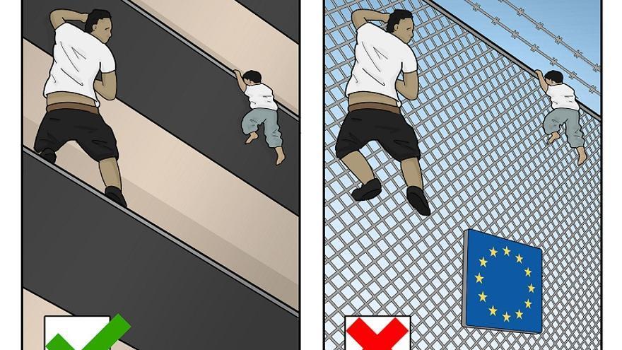 La viñeta 'Migrant Hero', cedida a eldiario.es por su autor, Tjeerd Royaards
