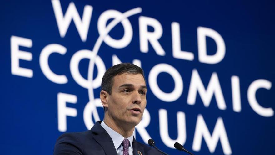 Pedro Sánchez durante su intervención en Davos.