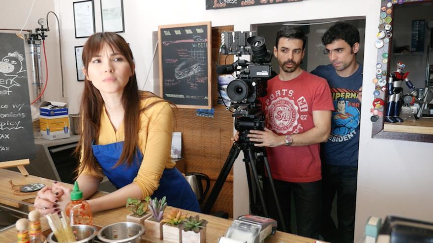 Pablo Conde y Hugo de la Riva, rodaje en LA