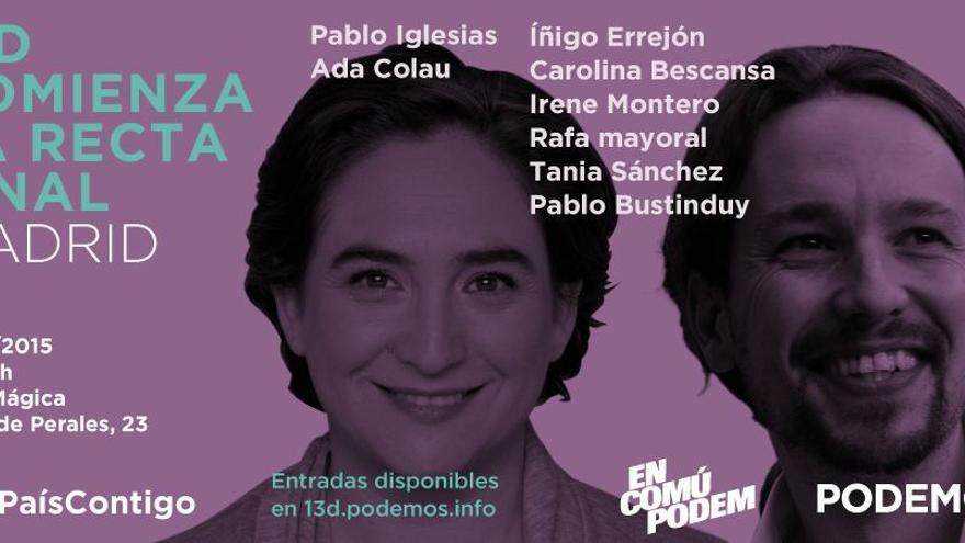 Cartel del acto de campaña de Podemos en la Caja Mágica.