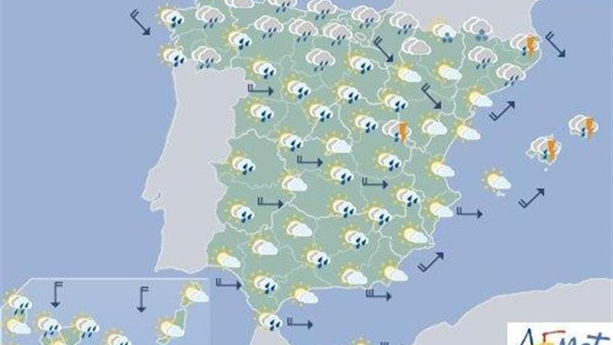 Lluvias en áreas del Cantábrico, Cataluña y centro y norte peninsular