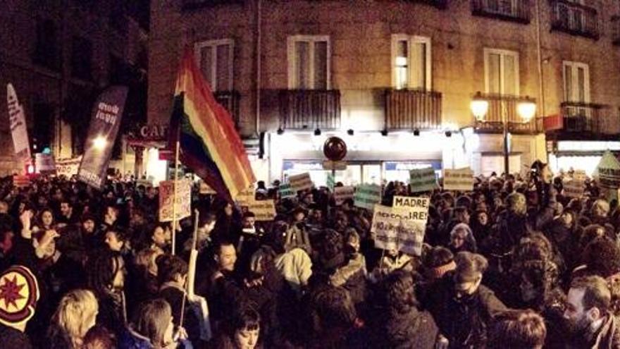 Imagen de la concentración en la calle San Bernardo de Madrid / Juan Luis Sánchez