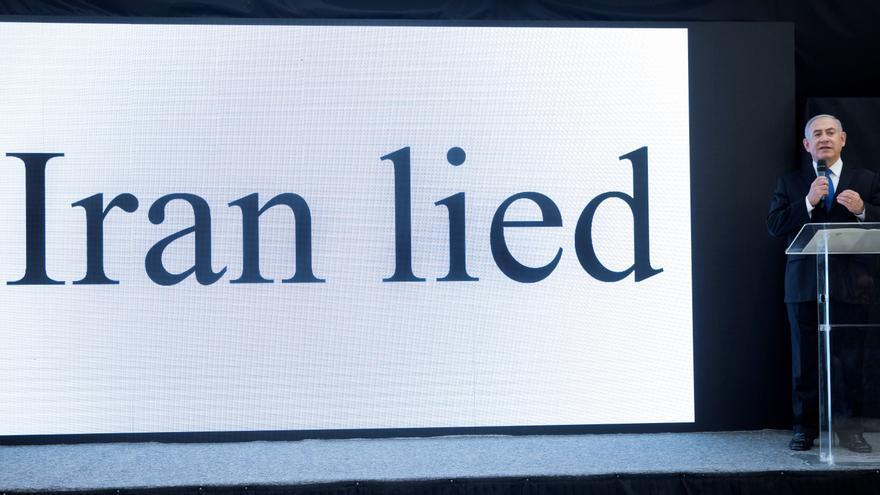 Acto celebrado en el Ministerio de Defensa de Israel el 30 de abril en el que Netanyahu mostró documentos secretos que supuestamente muestran que Irán miente y que tiene un programa armamentístico nuclear.
