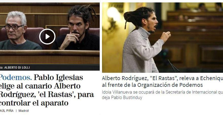 Titulares con 'El Rastas' en El Mundo y COPE