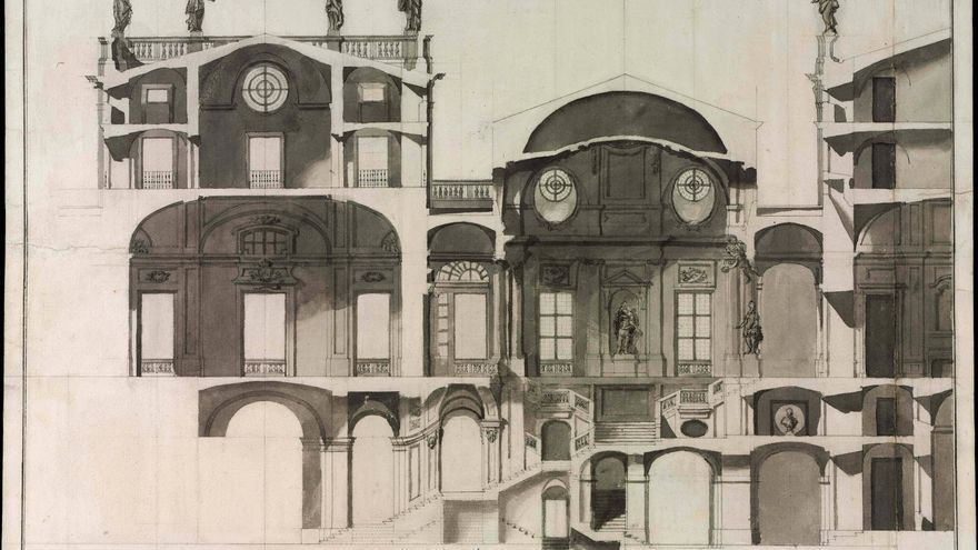 Proyecto de Ventura Rodríguez para la escalera del Palacio Real de Madrid