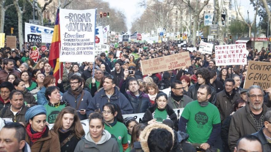 Manifestación de la Plataforma de Afectados por la Hipoteca (PAH) en Barcelona