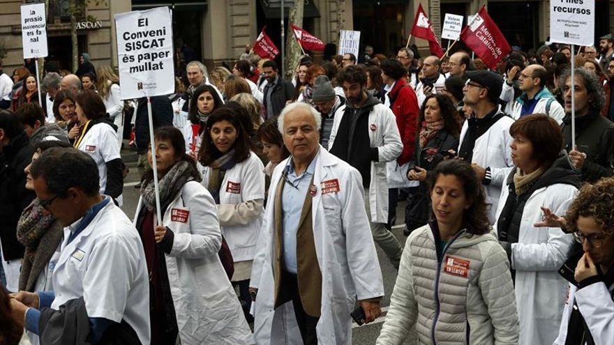 Protesta de los médicos en Barcelona esta semana