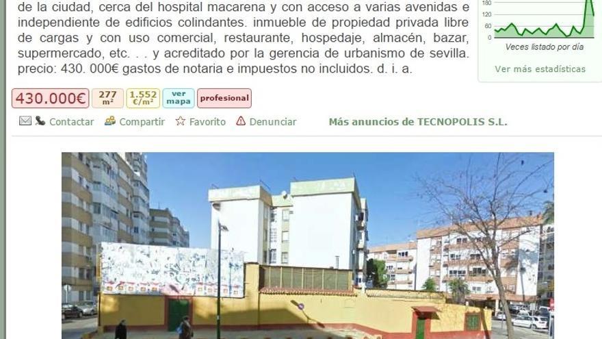 El anuncio publicado por la inmobiliaria sevillana.