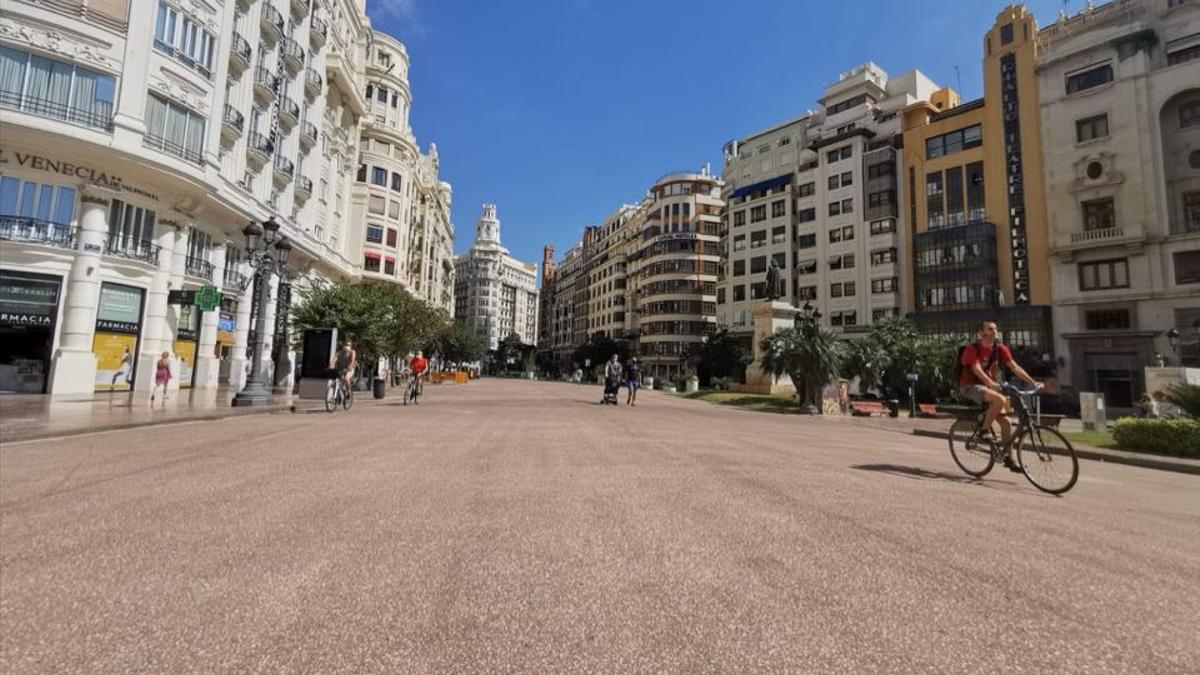 La Plaza del Ayuntamiento peatonalizada.