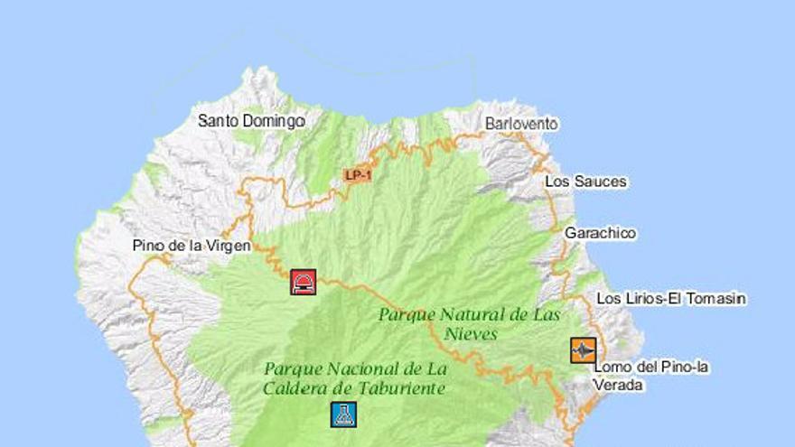 Mapa de la Red de Vigilancia Volcánica del IGN en La Palma.