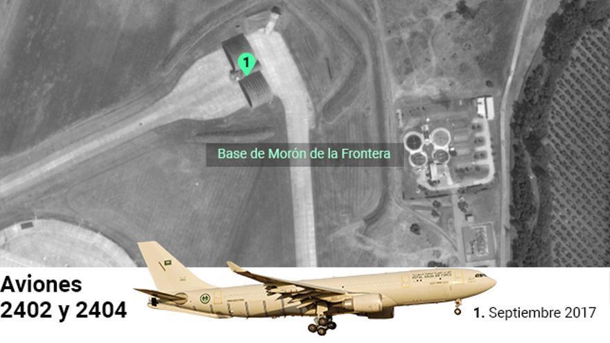 Los aviones del ejército saudí 2402 y 2404 también fueron fotografiados en 2017 en Morón de la Frontera (Sevilla).