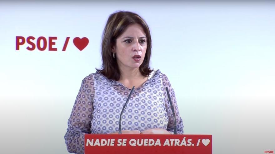 La vicesecretaria general y portavoz socialista en el Congreso, Adriana Lastra, durante un acto en Alcalá de Henares (Madrid)