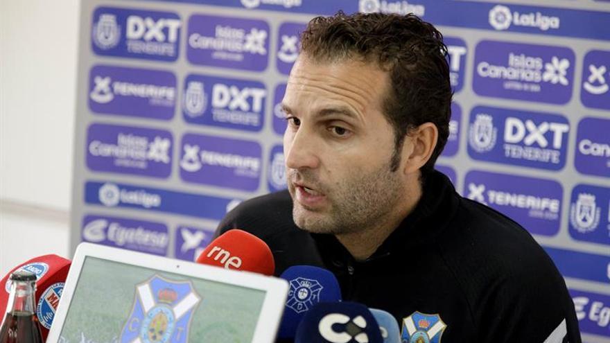 Rubén Barja durante la rueda de prensa previa al enfrentamiento con el Albacete Balompié.