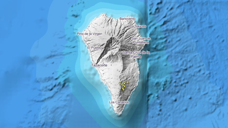 Imagen del IGN en la que se indica los lugares donde se han localizado los movimientos sísmicos.