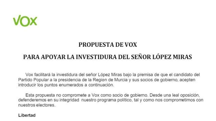Documento de Vox en Murcia