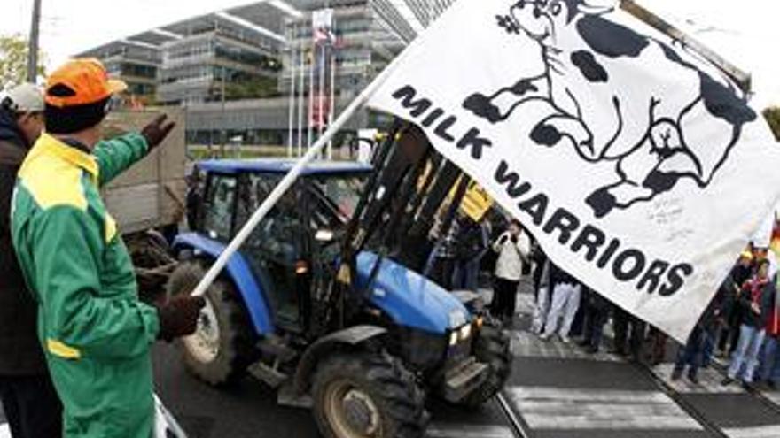 Productores de leche se manifiestan en Estrasburgo