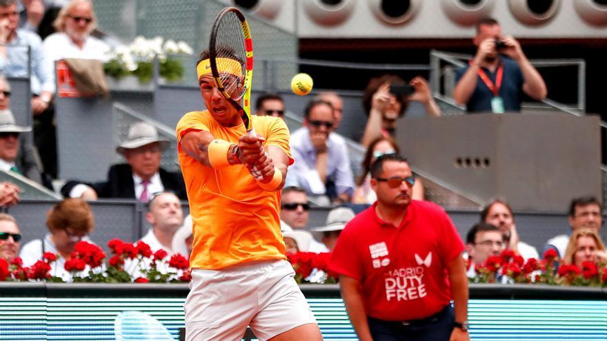 Rafa Nadal en su debut en el Mutua Madrid Open 2018