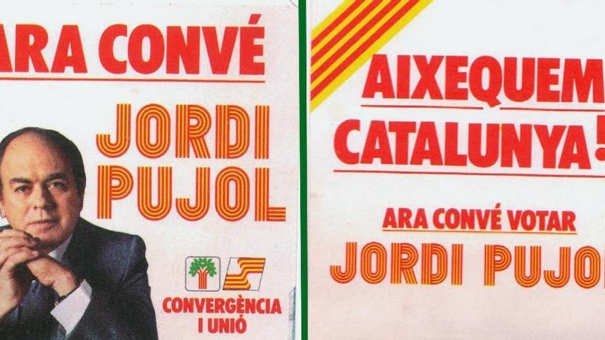 """""""Ahora conviene Jordi Pujol. Levantemos Catalunya"""", cartel electoral de Convergència en las primeras elecciones autonòmicas."""