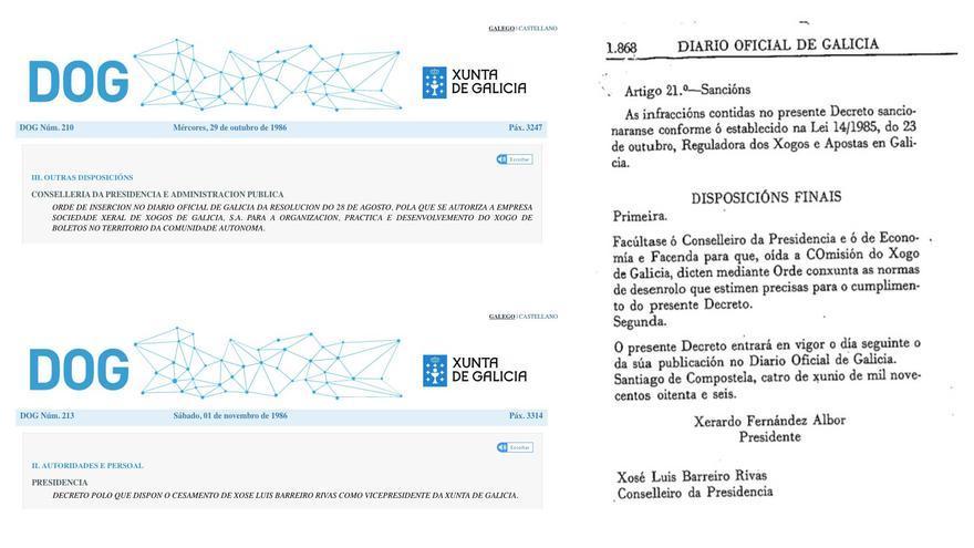 Diarios oficiales con la autorización del juego de boletos, el reglamento del juego y el cese de Barreiro Rivas como vicepresidente de la Xunta