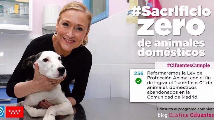 Imagen con la que Cristina Cifuentes anunció en su perfil de Twitter la aprobación del 'sacrificio cero' en Madrid