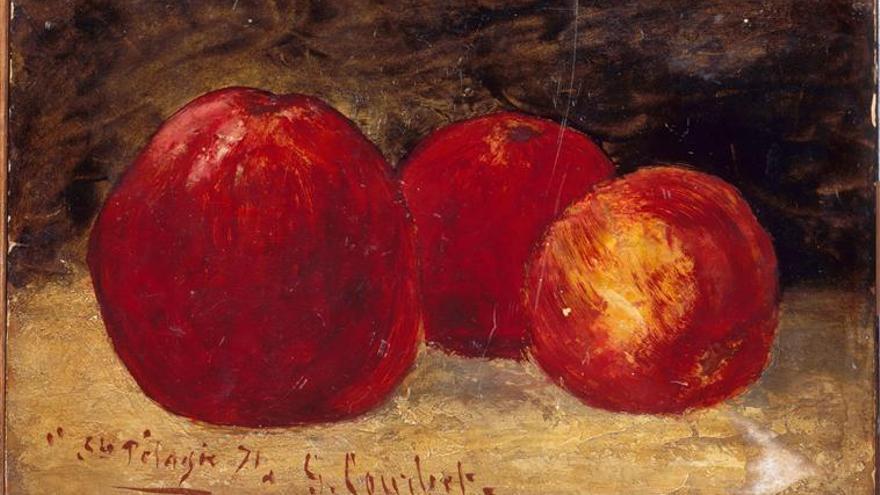 Tres manzanas rojas (1871). |