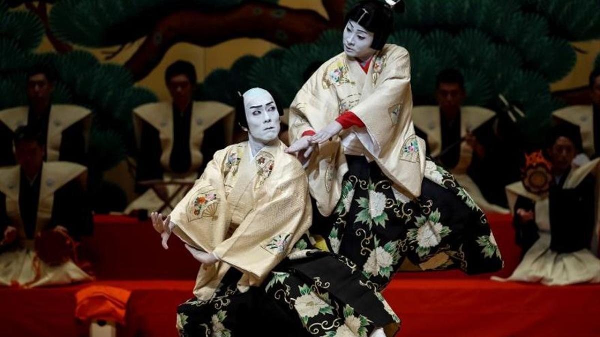 Escena de una representación de kabuki