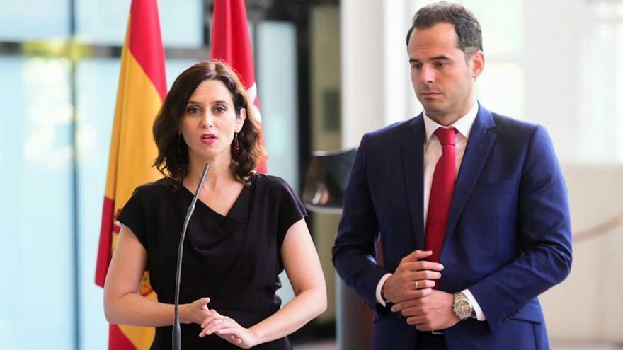 Isabel Díaz Ayuso e Ignacio Aguado, durante la presentación de su acuerdo de gobierno. / PP