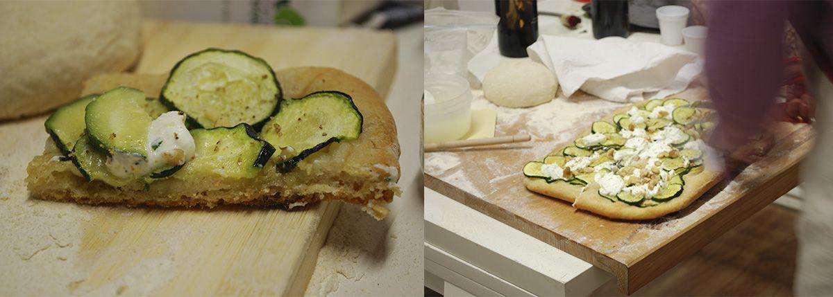 Díptico pizza de calabacín, queso de cabra, pimienta blanca y nueces_Malasaña a mordiscos_La Hoja de Albahaca