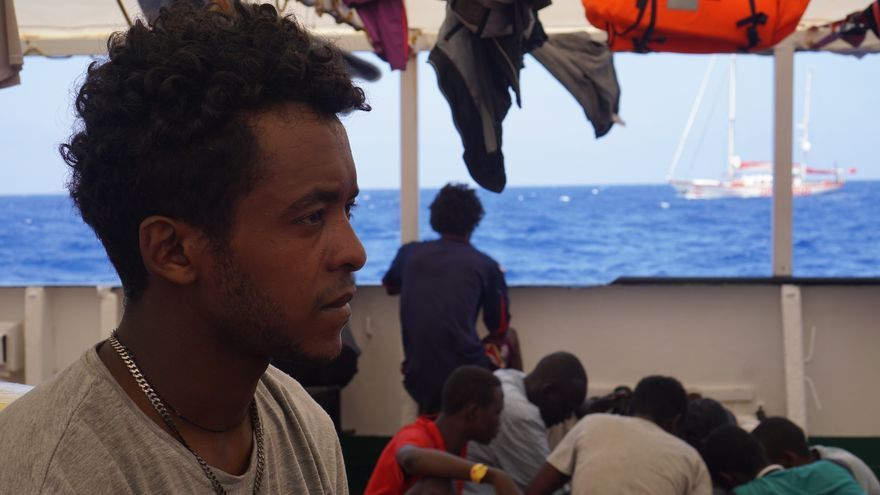 Daniel Salomon, eritreo de 17 años, evacuado del Open Arms este jueves.