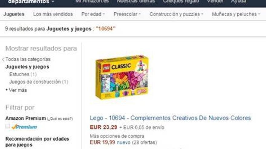Captura del precio de un juguete el 2 de diciembre de 2015