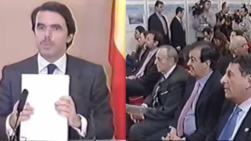 Comparecencia de Aznar en A Coruña tras la aprobación del plan y políticos asistentes a su intervención