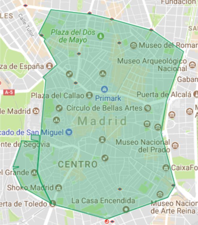 Área de Madrid Central, sin incluir el tramo hasta Serrano Jover