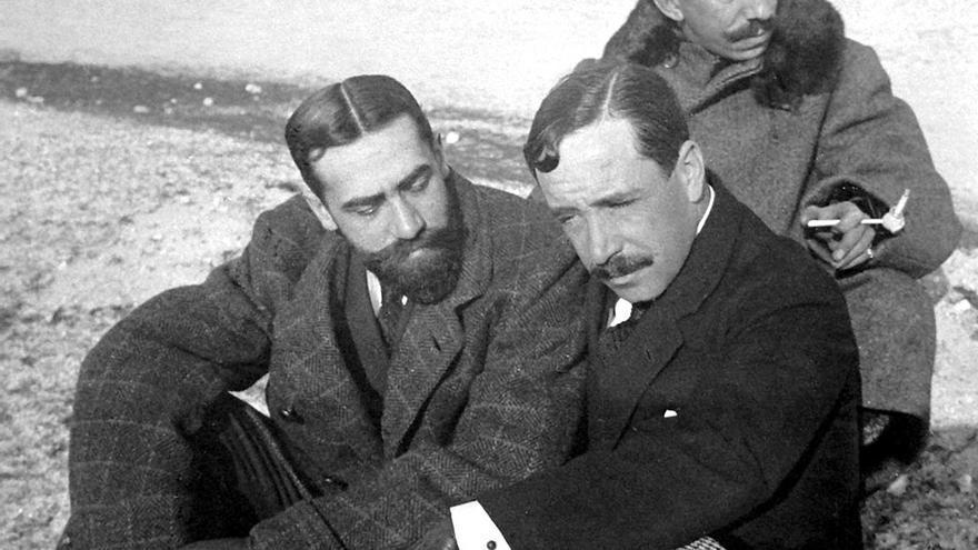 Amós Salvador Carreras, Manuel de Cárdenas y Octavio Álvarez Carballo, en Laciana en 1914.