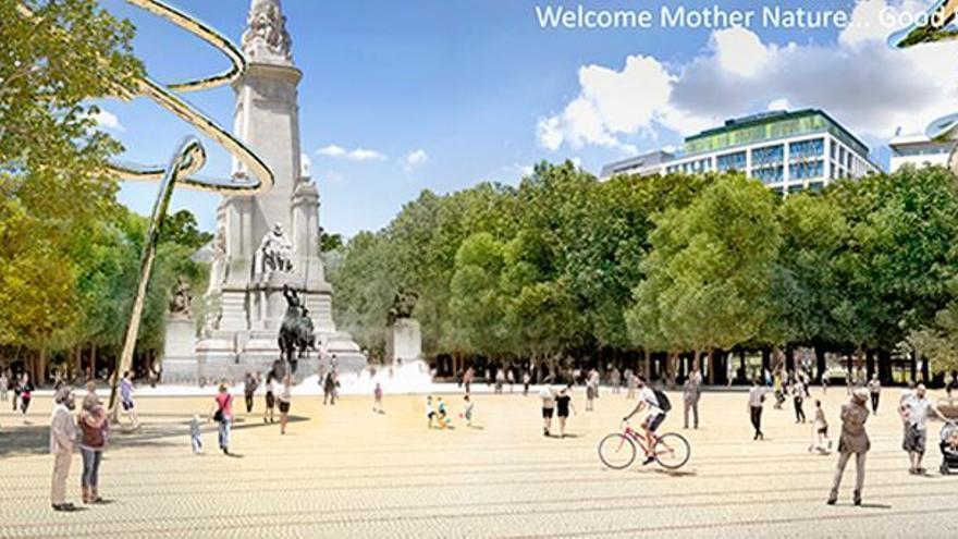 Recreación del proyecto Good Bye Mr. Ford para la Plaza de España de Madrid.
