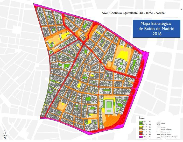 Nivel Continuo del Mapa de Ruido 2016 para el barrio de Justicia