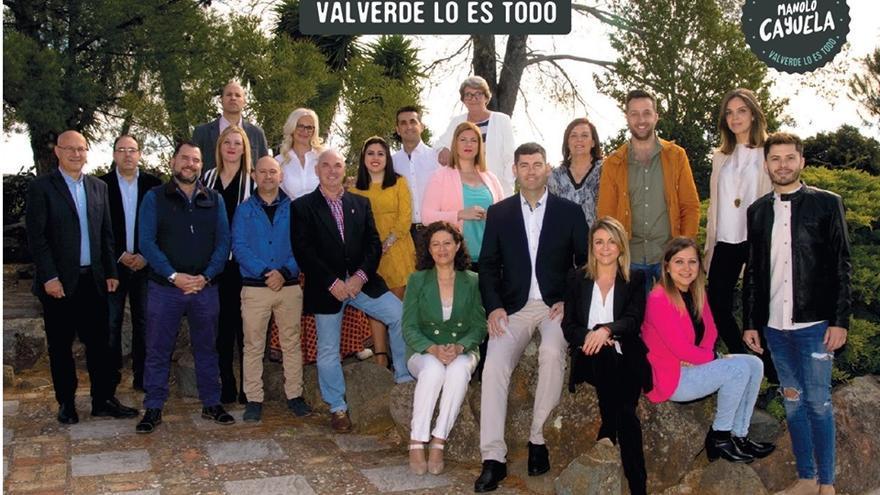 La candidatura del PP de Valverde del Camino, que finalmente no ha conseguido la alcaldía.